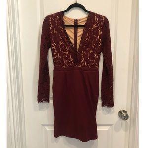 Burgundy Long Sleeve Lace Dress